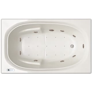 Signature Bath White Acrylic Whirlpool/Air Combo 60-inch x 36-inch x 19-inch Drop-in Bath with LED Lighting and Waterfall
