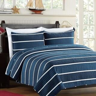 Navy Strip Cotton 3-piece Quilt Set