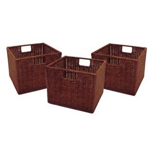 Winsome Leo Walnut Finish Rattan 11-inch Wired Storage Baskets (Set of 3)