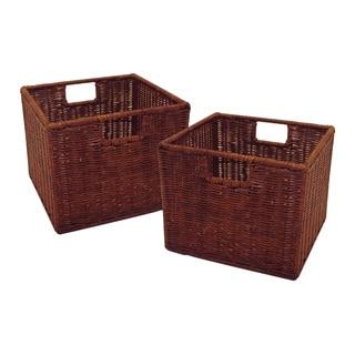 Winsome Leo Home Storage Small Rattan Baskets (Set of 2)