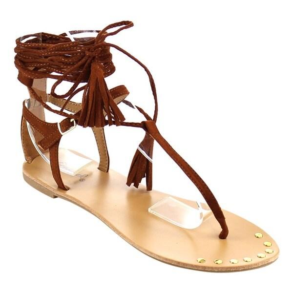 QUPID FC16 Women's Tassels Leg Wrap Gladiator Thong Flat Sandals 19286279