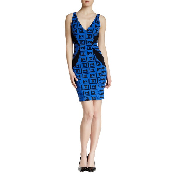 Lotus Threads Women's 56400 Blue/White Nylon and Spandex V-neck Two Way Print Dress
