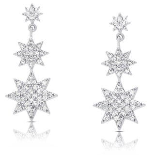 Dolce Giavonn Sterling Silver Cubic Zirconia Graduated Style Star Dangle Earrings