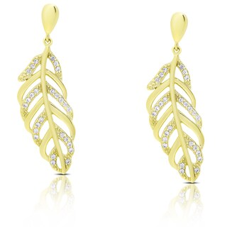 Dolce Giavonna Sterling Silver Cubic Zirconia Leaf Design Dangle Earrings