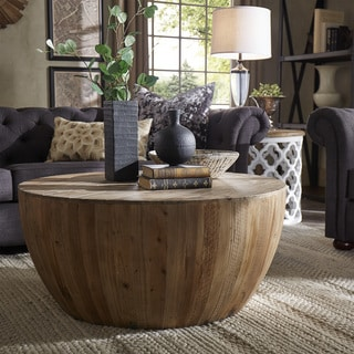 SIGNAL HILLS Hatteras Drum Reclaimed Woodblock Barrel Coffee Table