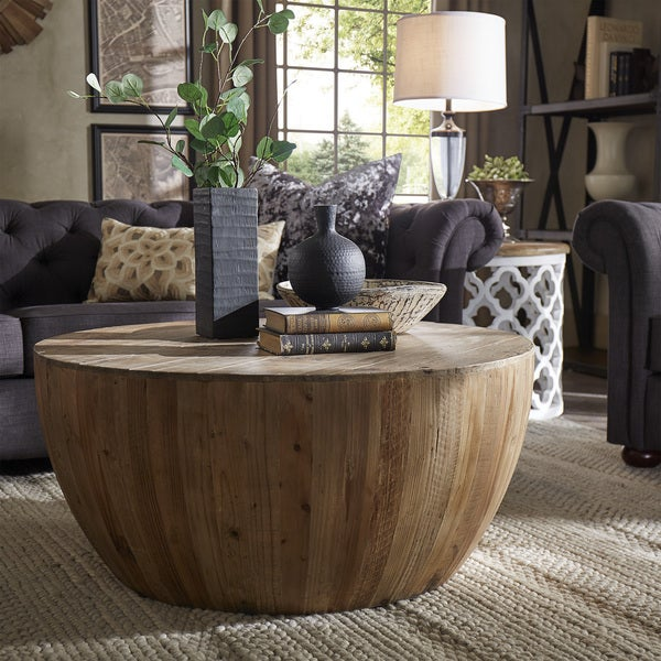 French Stamped Mango Coffee Table: SIGNAL HILLS Hatteras Drum Reclaimed Woodblock Barrel