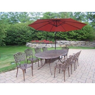 Explorer Cast Aluminum 84-inch x 42-inch 10-piece Outdoor Dining Set With 10-foot Cantilever Umbrella