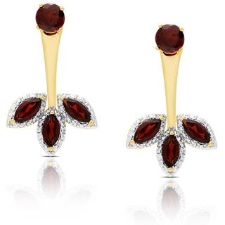 Dolce Giavonna Gold Overlay Garnet Flower Jacket Earrings