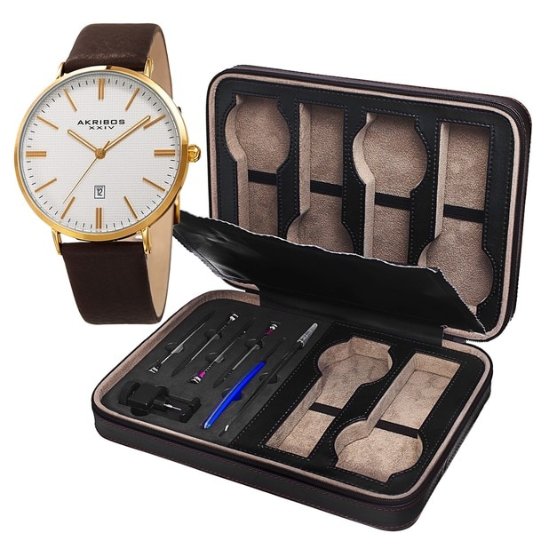 Akribos XXIV Men's Quartz Leather Gold-Tone Strap Watch + Leatherette Case 19286997