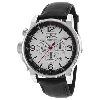 Invicta Men's Black Leather Watch
