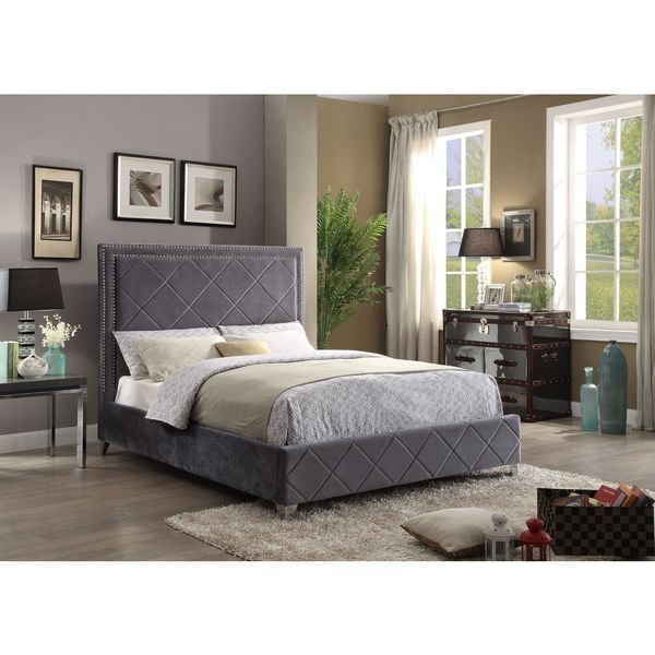 Meridian Hampton Grey Velvet Bed