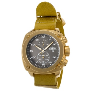 Invicta Men's Gold Leather and Stainless Steel Water Resistant Quartz Watch
