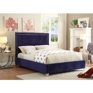 Meridian Hampton Navy Velvet Bed