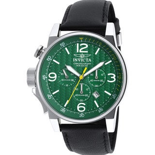 Invicta Men's Black Leather Green Stainless Steel Watch