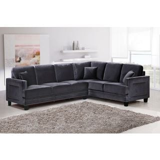 Meridian Ferrara Grey Velvet 2Pc. Sectional (LAF RAF)