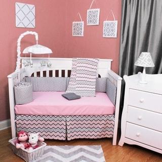 Pink/Grey Cotton Chevron Zig Zag 4-piece Baby Crib Bedding Set without Bumper