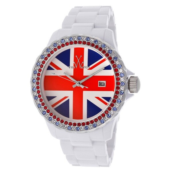 ToyWatch Women's White Union Jack Crystal Inlay Watch
