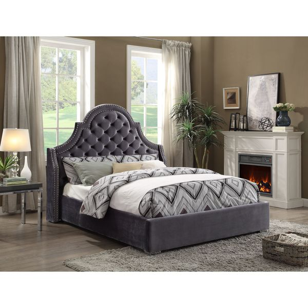 Meridian Madison Grey Velvet Bed