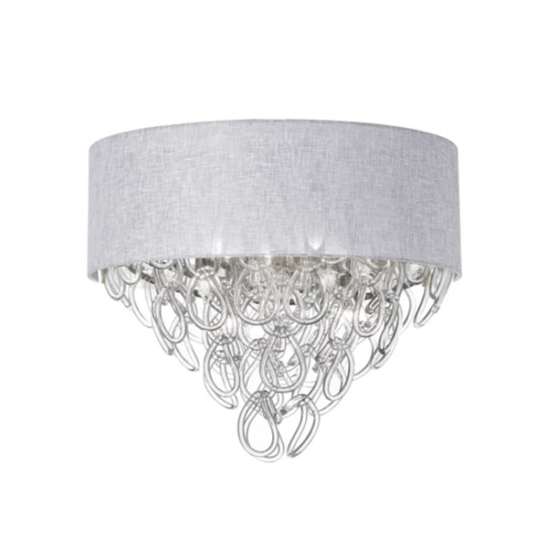 Dainolite Glass Loop 4-light Flush Mount with White Shade