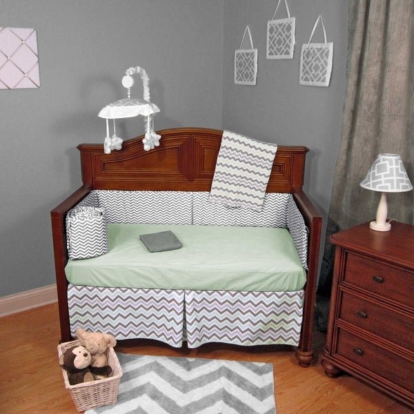 Green and Grey Cotton Chevron Zigzag 4-piece Baby Crib Bedding Set without Bumper