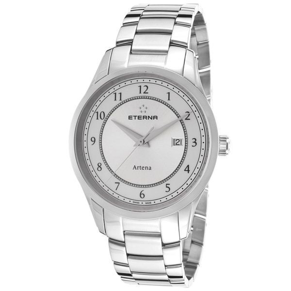 Eterna Artena Silvertone Brushed Stainless Steel Watch