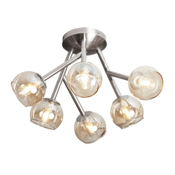 Dainolite Satin Chrome 6-light Semi-flush with Clear Antique Glass Balls