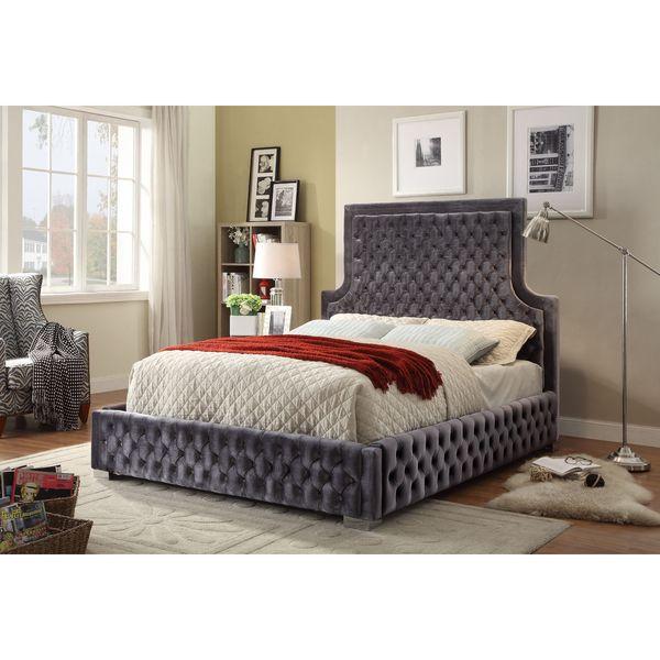 Hampton Black Velvet Queen Bed