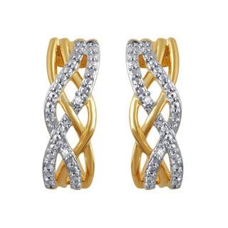 Divina 14k Yellow Over Brass I-J I2-I3 Diamond Accent Fashion Criss-cross Earring