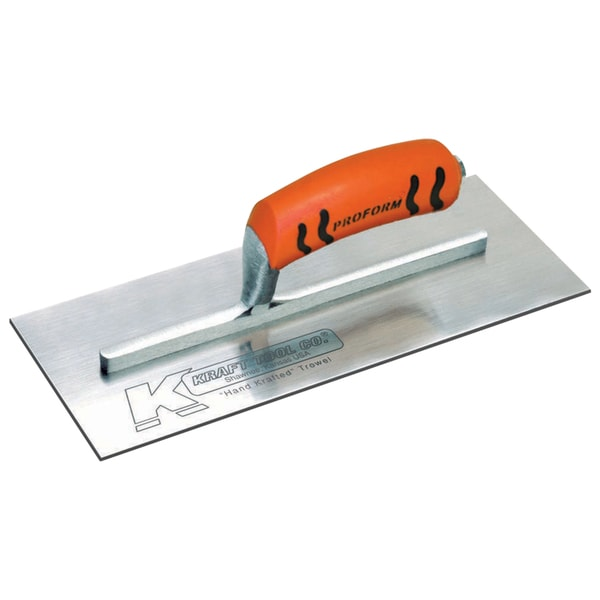"11"" x 4-1/2"" Carbon Steel Plaster Trowel with ProForm Soft Grip Handle"