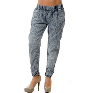 Women's Blue Cotton Soft Denim Jogger Pants with Ruched Bottom and 2 Front Pockets