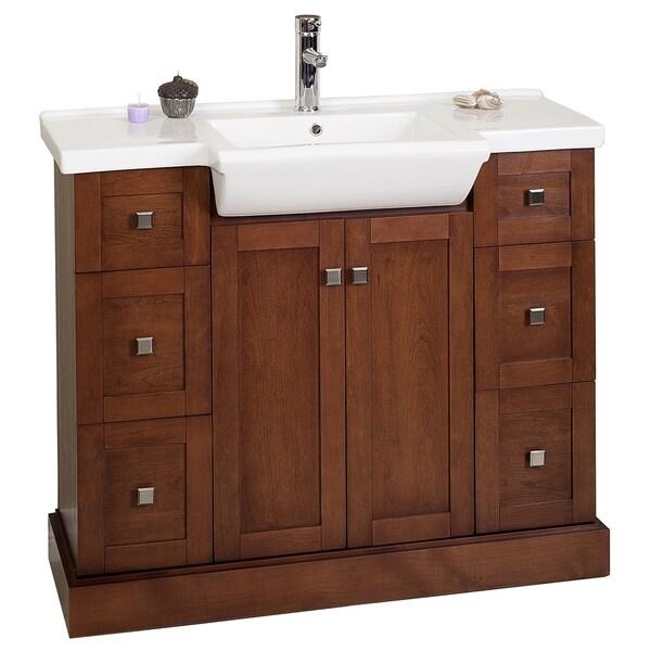 38-in. W x 14-in. D Modern Birch Wood-Veneer Vanity Base Only In Cherry
