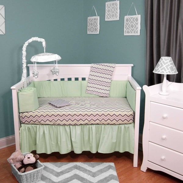 Chevron Green, Grey Cotton, Polyester 5-piece Baby Crib Bedding with Bumper