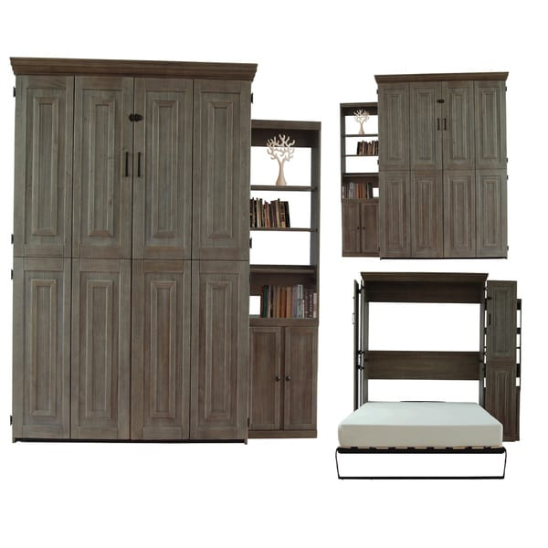 Charcoal Grey Finish Queen Murphy Bed with One Door Bookcase