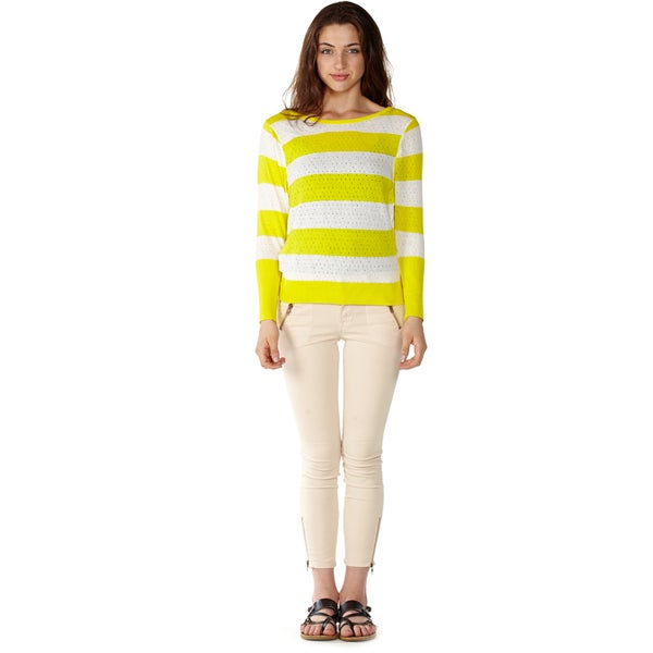 Dinamit Women's Yellow Cotton Size S/M Stripe Knit Pointelle Sweater