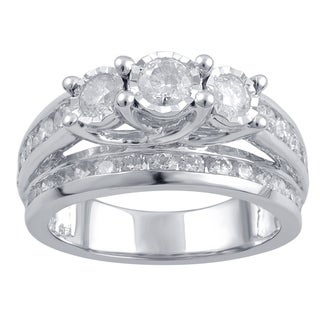 10k White Gold 2ct TDW Diamond 3-stone Anniversary Ring (I-J, I2-I3)