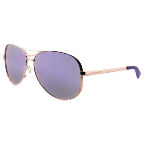 Michael Kors MK 5004 10034V Chelsea Rose Gold Metal Aviator Sunglasses With Purple Mirror Lens
