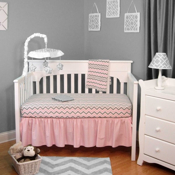 Pink and Gray Chevron 4-piece Crib Bedding Set