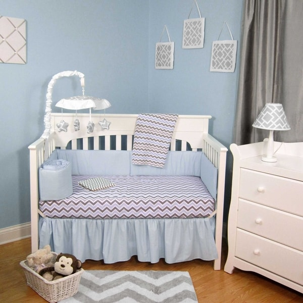 Blue/Grey Cotton/Polyester Chevron 5-piece Baby Crib Bedding Set with Bumper