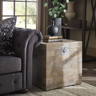 SIGNAL HILLS Tucker Reclaimed Patchwork Storage Trunk Chest Side Table