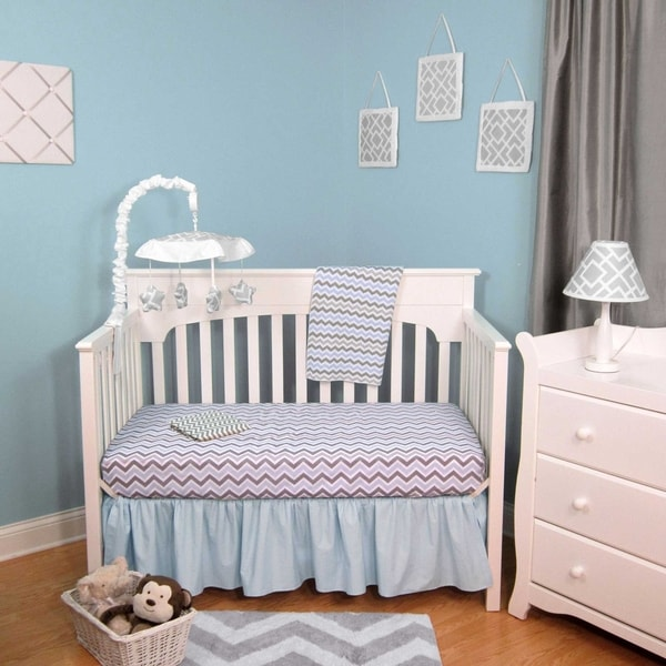 Chevron Blue, Grey Cotton 4-Piece Baby Crib Bedding Set