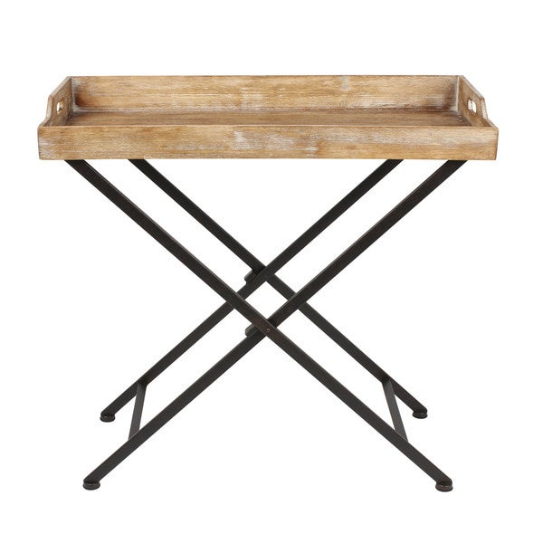 Foldable Cocktail Table Kate and Laurel Marmora Black Metal and Rustic Wood Folding Tray Table ...