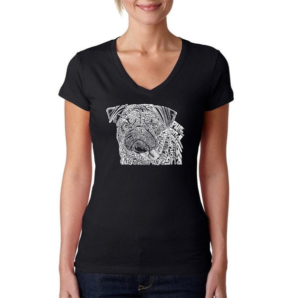 Los Angeles Pop Art Women's 'Pug Face' Black Cotton V-neck T-shirt