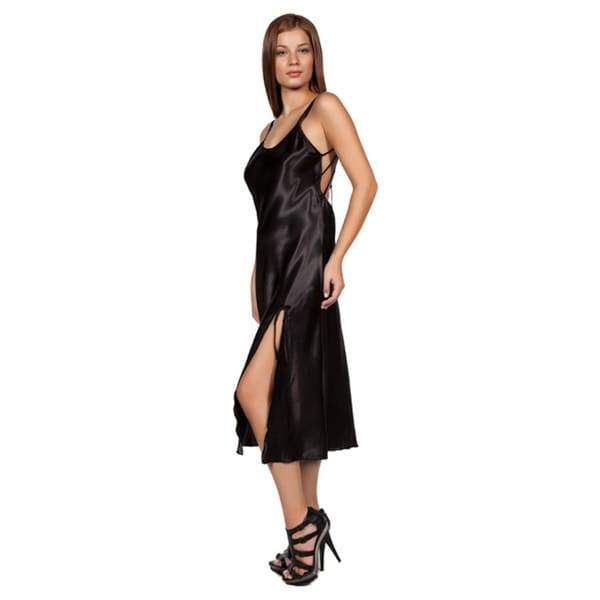 Miorre Satin Women's Black Polyester/Satin Lace Detail Long Nightgown