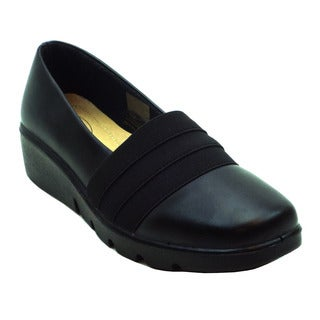 Blue Women's Black PU Comfort Flat