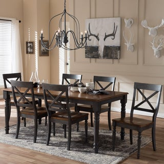 "Baxton Studio Amintah Country Cottage Weathered Dove Grey and ""Oak"" Brown 2-Tone Finishing Top 7-Piece Dining Set"