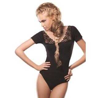 Miorre Women's Black Cotton/Elastane/Lace Square-neck Bodysuit
