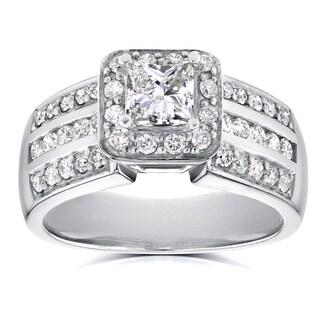 Annello 14k White Gold 1ct TDW Princess Diamond Halo Engagement Ring (H-I, I1-I2)