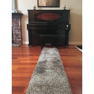 Shaw Bling Collection Grey Nylon, Polyester Super Shag Runner Rug (2'6 x 12')