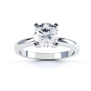14k White Gold 1/10ct TDW Round Diamond 4-prong Solitaire Engagement Ring (G-H, SI1-SI2)