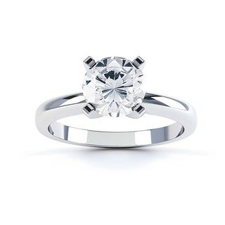 14k White Gold 1/4ct TDW Round Diamond 4-prong Solitaire Engagement Ring (G-H, SI1-SI2)